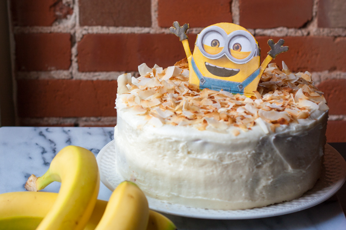 Banana Coconut Cake with Cream Cheese Frosting | eatfirstworrylater.com