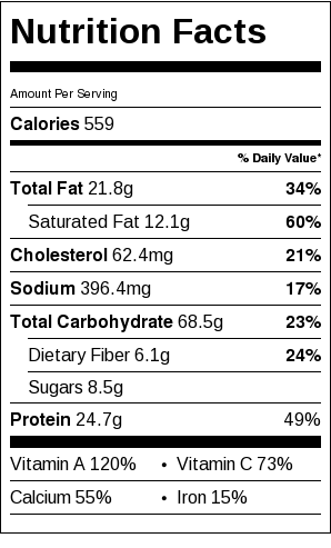 Butternut Squash Macaroni and Cheese Nutrition Label